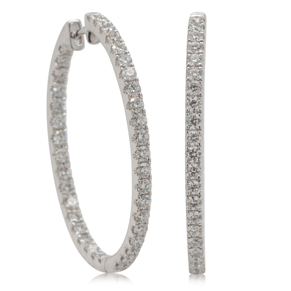 18ct White Gold 1.49ct Diamond Hoop Earrings - Walker & Hall