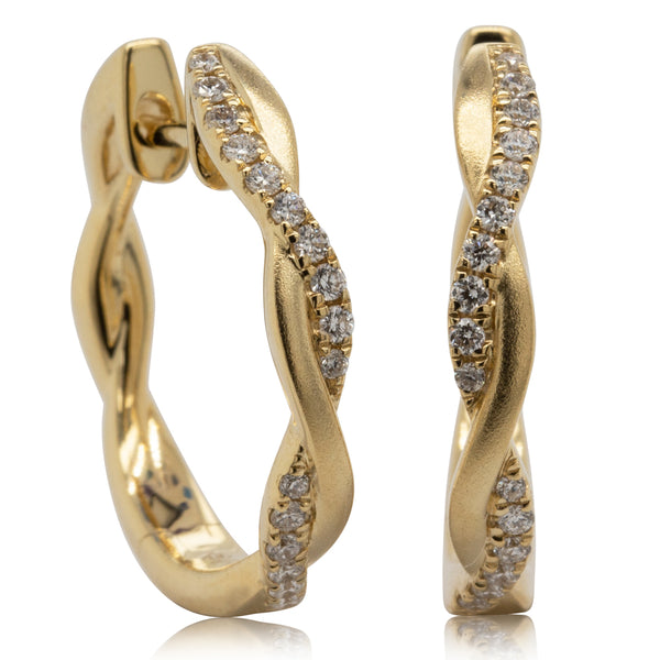 18ct Yellow Gold .18ct Diamond Twist Hoop Earrings - Walker & Hall