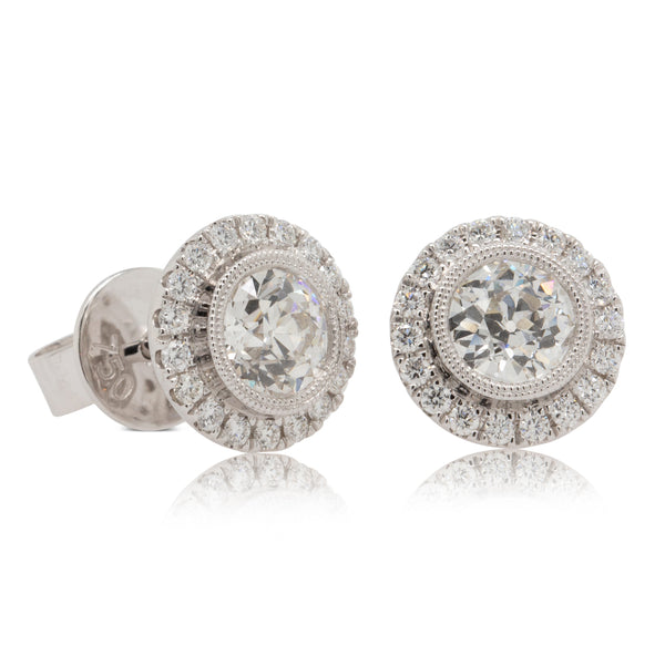 18ct White Gold 1.34ct Diamond Halo Earrings - Walker & Hall