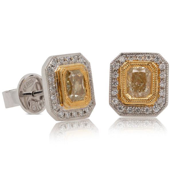 18ct White & Yellow Gold 1.02ct Yellow Diamond Earrings - Walker & Hall