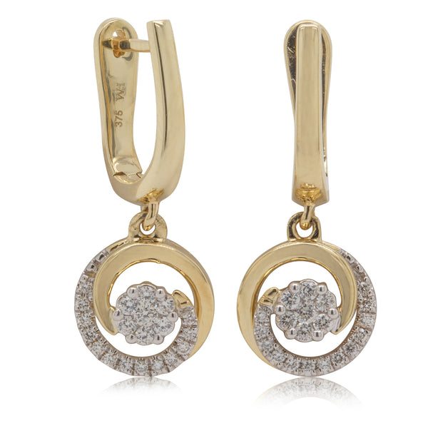 9ct Yellow Gold .25ct Diamond Earrings - Walker & Hall
