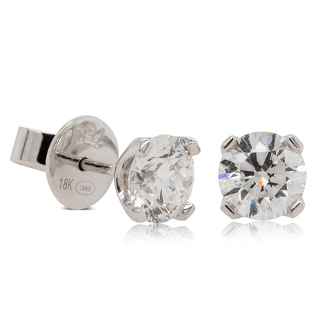 18ct White Gold 2.00ct Diamond Blossom Earrings - Walker & Hall