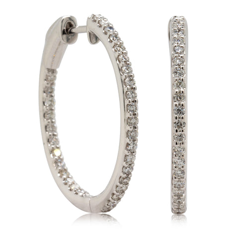 18ct White Gold .71ct Diamond Hoop Earrings - Walker & Hall