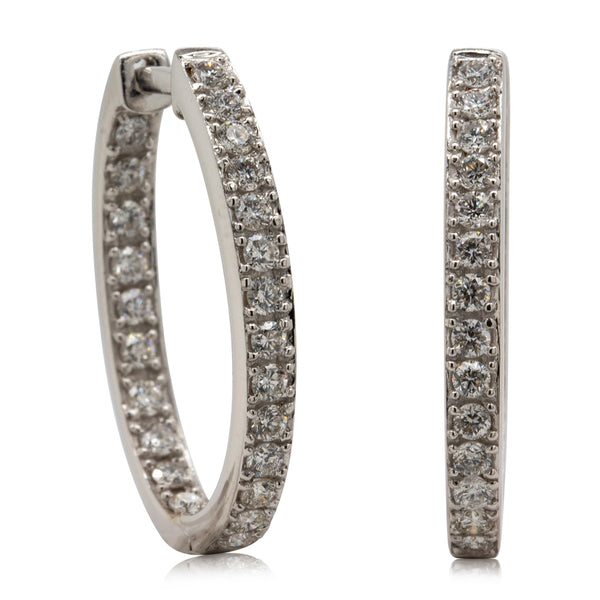 Deja Vu 18ct White Gold .92ct Diamond Hoop Earrings - Walker & Hall