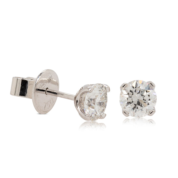 18ct White Gold 1.42ct Diamond Blossom Stud Earrings - Walker & Hall