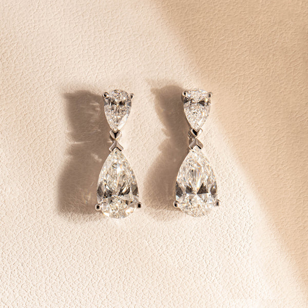 18ct White Gold 2.51ct Diamond Earrings - Walker & Hall