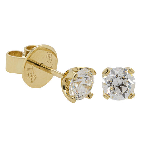 18ct Yellow Gold 1.00ct Diamond Blossom Stud Earrings - Walker & Hall