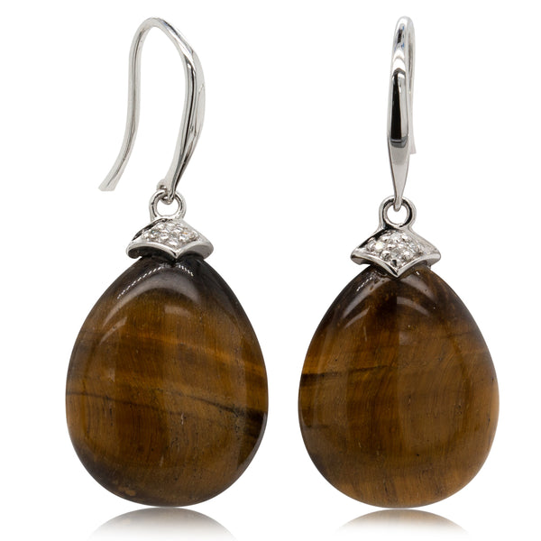 9ct White Gold and Diamond Tiger's Eye Drop Earring - Walker & Hall