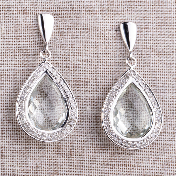 9ct White Gold .19ct Diamond and Green Amethyst Drop Earrings - Walker & Hall