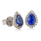 18ct White Gold 1.74ct Sapphire & Diamond Halo Stud Earrings - Walker & Hall