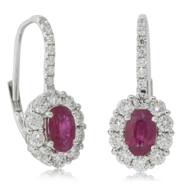 18ct White Gold 1.11ct Ruby & Diamond Halo Earrings - Walker & Hall