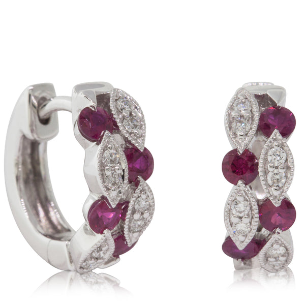 18ct White Gold .49ct Ruby & Diamond Earrings - Walker & Hall