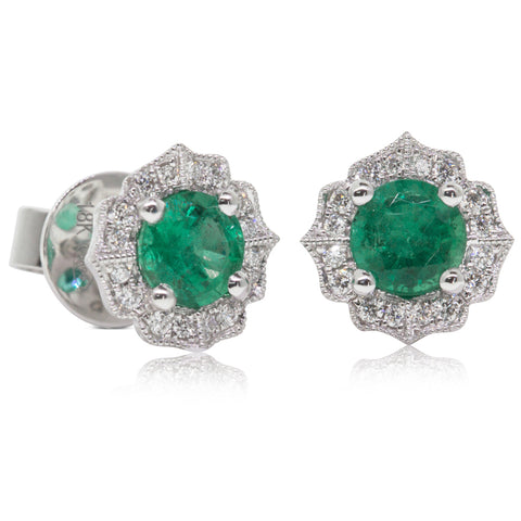 18ct White Gold .99ct Emerald & Diamond Paramount Earrings - Walker & Hall