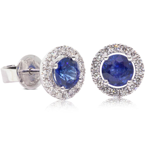 18ct White Gold 1.20ct Sapphire & Diamond Earrings - Walker & Hall