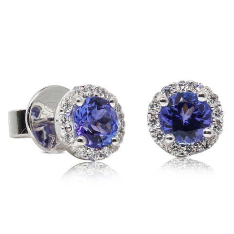 18ct White Gold 1.17ct Tanzanite & Diamond Earrings - Walker & Hall