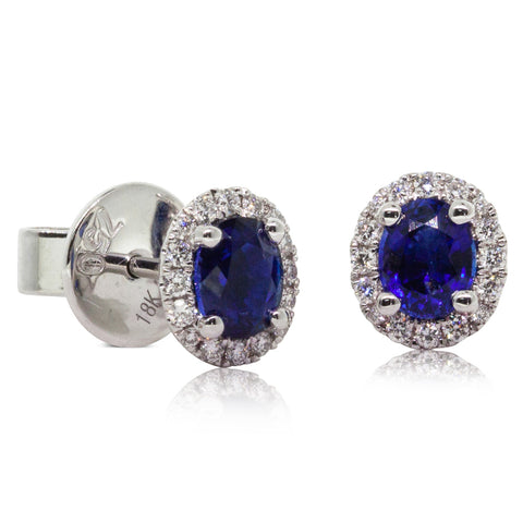 18ct White Gold 1.08ct Sapphire & Diamond Earrings - Walker & Hall