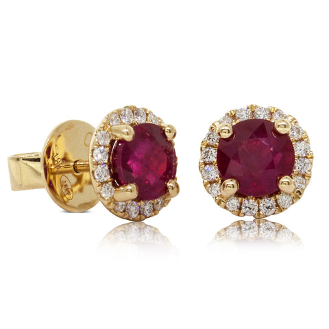 18ct Yellow Gold 2.18ct Ruby & Diamond Earrings - Walker & Hall