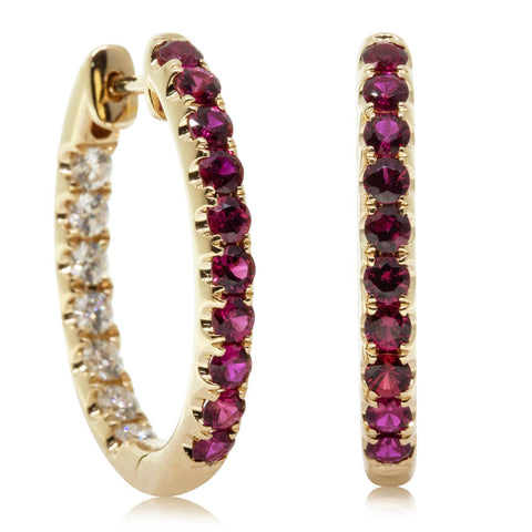18ct Yellow Gold 1.07ct Ruby & Diamond Jupiter Hoop Earrings - Walker & Hall