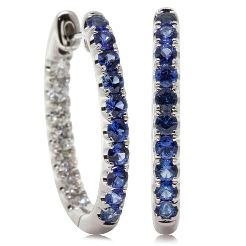 18ct White Gold 1.06ct Sapphire & Diamond Jupiter Hoop Earrings - Walker & Hall