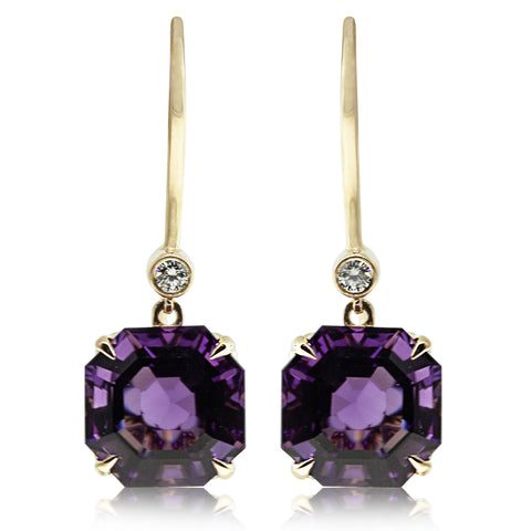 18ct Yellow Gold Amethyst & Diamond Drop Octavia Earrings - Walker & Hall