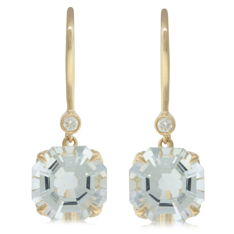 18ct Yellow Gold Aquamarine & Diamond Drop Octavia Earrings - Walker & Hall
