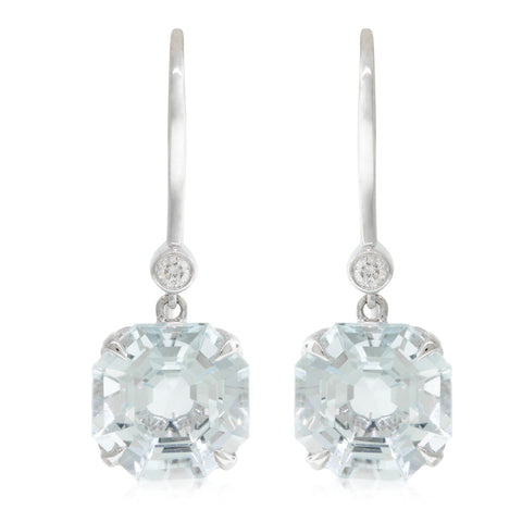 18ct White Gold Aquamarine & Diamond Drop Octavia Earrings - Walker & Hall