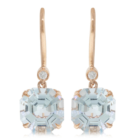 18ct Rose Gold Aquamarine & Diamond Drop Octavia Earrings - Walker & Hall