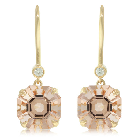 18ct Yellow Gold Morganite & Diamond Drop Octavia Earrings - Walker & Hall