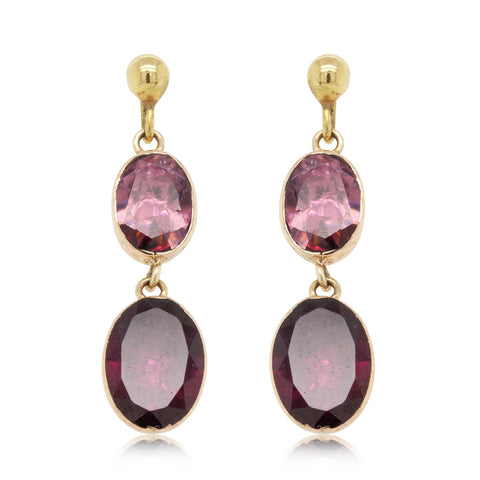 Vintage 9ct Rose Gold Tourmaline Drop Earrings - Walker & Hall