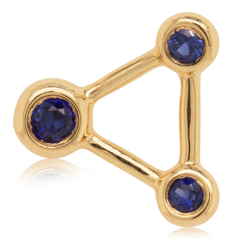 18ct Yellow Gold Sapphire Single Water Element Earring - Walker & Hall