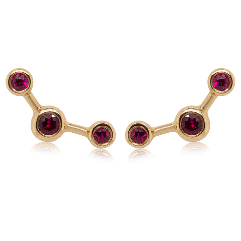 18ct Yellow Gold Ruby Single Fire Element Earring - Walker & Hall