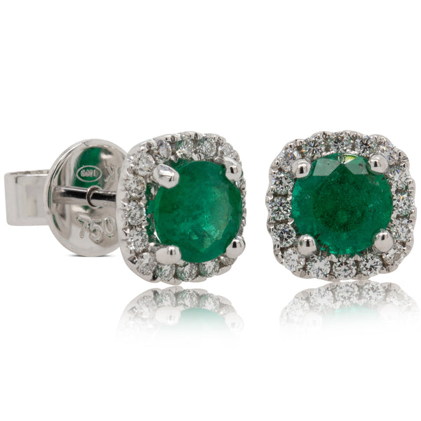 18ct White Gold 1.01ct Emerald & Diamond Peony Earrings - Walker & Hall