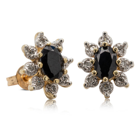 Deja Vu 9ct Yellow Gold Sapphire & Diamond Studs - Walker & Hall