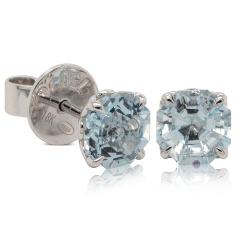 18ct White Gold Aquamarine Octavia Stud Earrings - Walker & Hall