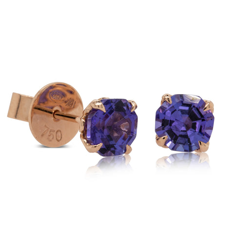 18ct Rose Gold Tanzanite Octavia Stud Earrings - Walker & Hall