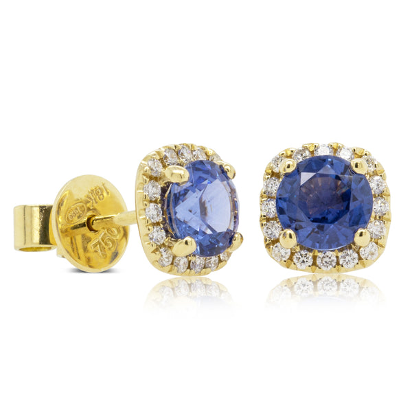 18ct Yellow Gold 1.99ct Sapphire & Diamond Peony Stud Earrings - Walker & Hall