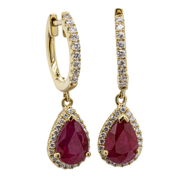 18ct Yellow Gold 2.12ct Ruby & Diamond Earrings - Walker & Hall