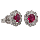 18ct White Gold .66ct Ruby & Diamond Earrings - Walker & Hall