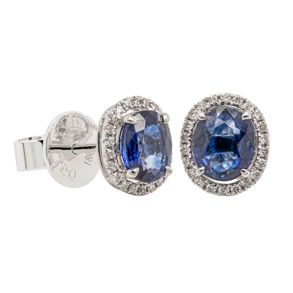 18ct White Gold Sapphire & Diamond Earrings - Walker & Hall