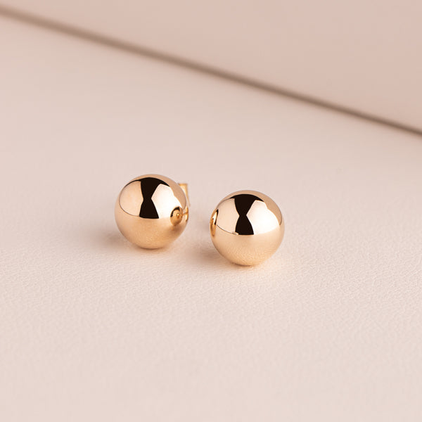 9ct Yellow Gold 8mm Ball Stud Earrings - Walker & Hall