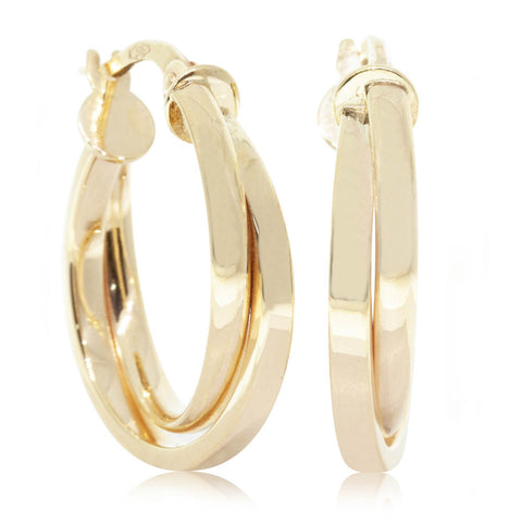 9ct Yellow Gold Crossover Hoop
