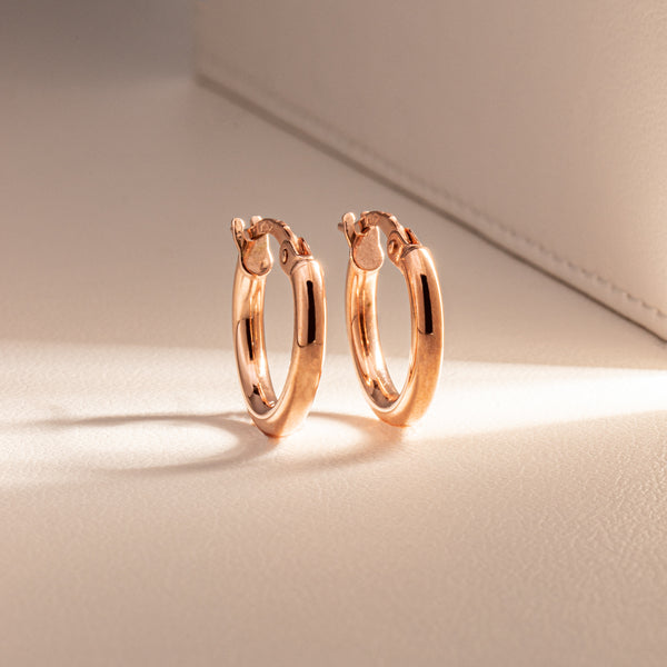 9ct Rose Gold Small Hoops - Walker & Hall