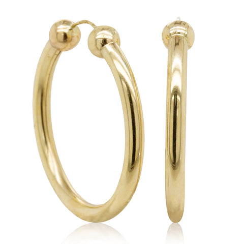 Deja Vu 9ct Yellow Gold Hoop Earrings - Walker & Hall