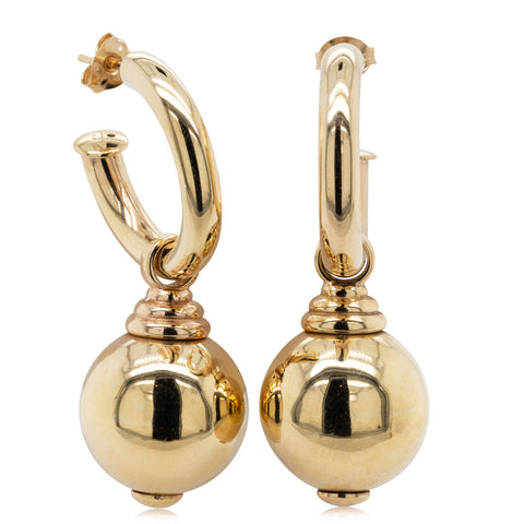 Deja Vu 9ct Yellow Gold Ball Drop Earrings - Walker & Hall