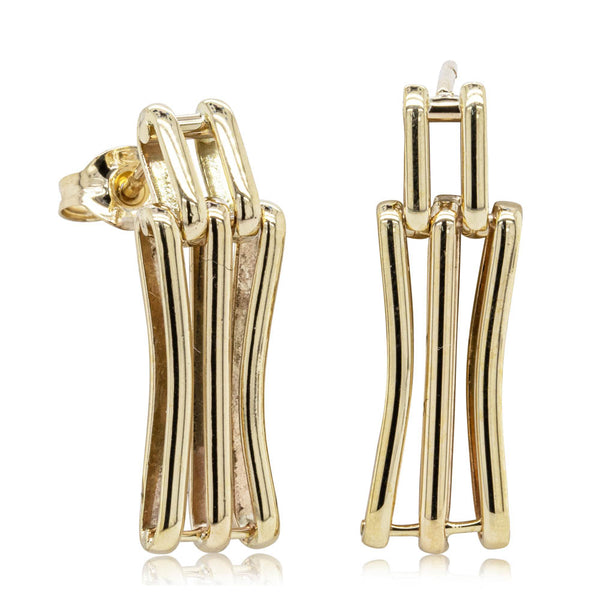 Vintage 9ct Yellow Gold Gate Earrings - Walker & Hall