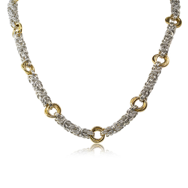 Sterling Silver & 9ct Yellow Gold Byzantine Necklace - Walker & Hall