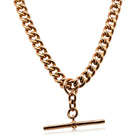 Vintage 9ct Rose Gold Curb Link Fob Chain - Walker & Hall