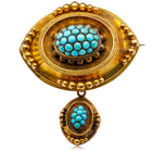 Vintage 15ct Gold Turquoise Mourning Brooch - Walker & Hall