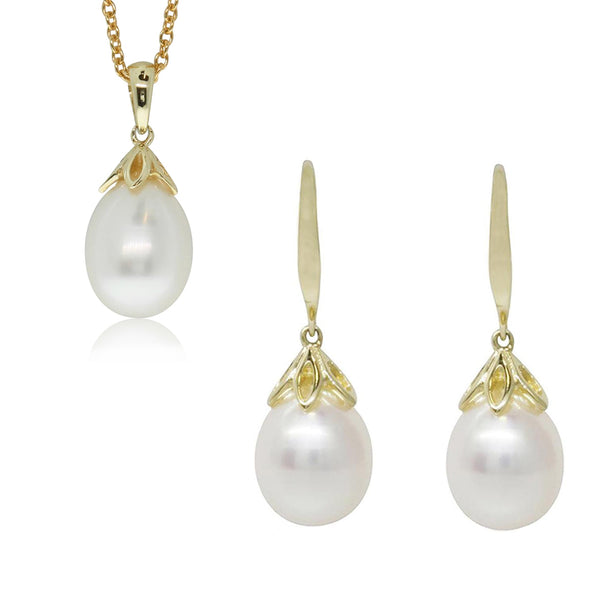 Gift Set - 9ct Yellow Gold Freshwater Pearl Petal Pendant & Earrings - Walker & Hall