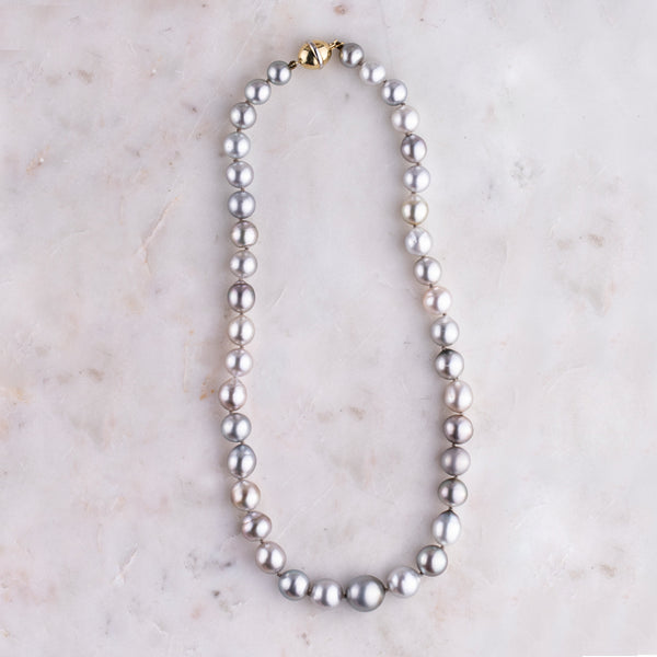 9ct Yellow Gold 8.4 - 13mm Silver Pearl Necklace - Walker & Hall